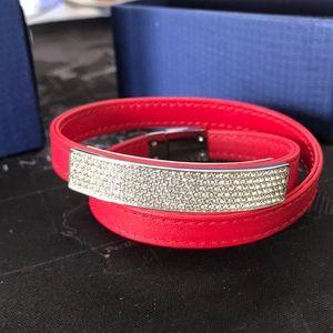 8cdc18e5f Swarovski. Swarovski Crystal Vio RED Leather Wrap Bracelet